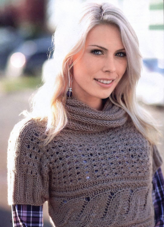 Женский пуловер и свитер крючком или спицами 99